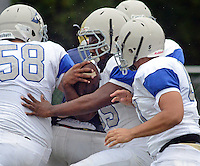 Bensalem's Malcolm Carey (35) pushes forward to score a touchdown against Council Rock South in the first quarter at Council Rock North Saturday October 8, 2016 in Newtown, Pennsylvania. (Photo by William Thomas Cain)