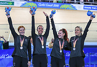 Womens 4000m pursuit team win Silver. Track Cycling, Anna Meares Arena, Commonwealth Games, Gold Coast, Australia. Thursday 5 April, 2018. Copyright photo: John Cowpland / www.photosport.nz /SWPix.com