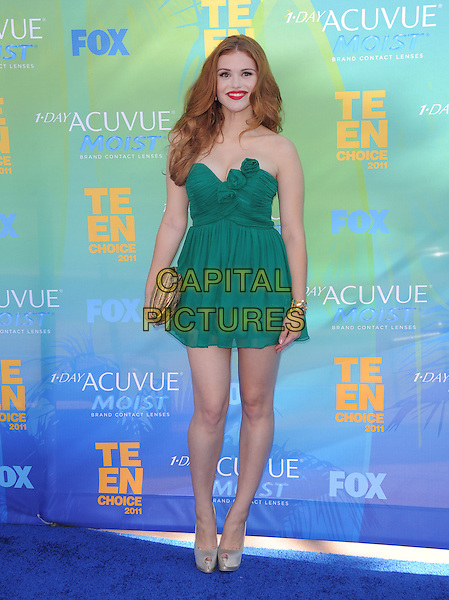 Holland Roden.2011 Teen Choice Awards - Arrivals held at Gibson Amphitheatre, Universal City, California, USA..August 7th, 2011.full length green dress gold clutch bag strapless. .CAP/RKE/DVS.©DVS/RockinExposures/Capital Pictures.