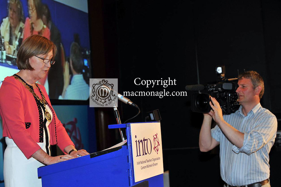 9-4-2012: INTO president Noreen Flynn addresses the INTO conference in The Gleneagle Hotel, Killarney on Monday..Picture by Don MacMonagle