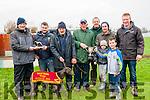 Lixnaw Coursing: Dontbreak Nobulb winner of the Donal McNamara Memorial Stake & Lyons Cup. L-R : Don McNamara, Pat McKenna, Pat McKenna, Mike Barry, Martin Scanlon, Anthony, Aidan & James Sheehy & Brendan McElligott.