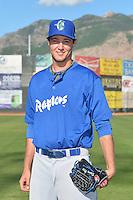 Daniel Keller (47) of the Ogden Raptors poses for a photo during media day on June 14, 2014 at Lindquist Field in Ogden, Utah. (Stephen Smith/Four Seam Images)