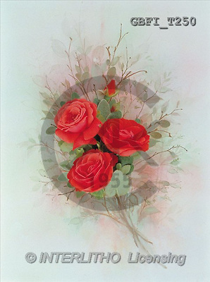 Finlay, FLOWERS, paintings, 3 red roses(GBFIT250,#F#) Blumen, flores, illustrations, pinturas ,everyday
