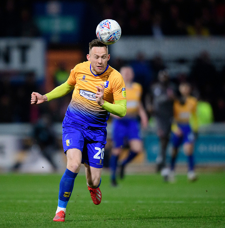 Mansfield Town's Gethin Jones<br /> <br /> Photographer Chris Vaughan/CameraSport<br /> <br /> The EFL Sky Bet League Two - Mansfield Town v Lincoln City - Monday 18th March 2019 - Field Mill - Mansfield<br /> <br /> World Copyright © 2019 CameraSport. All rights reserved. 43 Linden Ave. Countesthorpe. Leicester. England. LE8 5PG - Tel: +44 (0) 116 277 4147 - admin@camerasport.com - www.camerasport.com