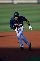 Lakeland Flying Tigers left fielder Derek Hill (18) runs the bases during the second game of a doubleheader against the Bradenton Marauders on April 12, 2018 at Publix Field at Joker Marchant Stadium in Lakeland, Florida.  Bradenton defeated Lakeland 5-4.  (Mike Janes/Four Seam Images)