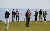 Gary Hurley (IRL) and Brian O'Driscoll (AM) on the 10th green during Round 3 of the 2015 Alfred Dunhill Links Championship at Kingsbarns in Scotland on 3/10/15.<br /> Picture: Thos Caffrey | Golffile