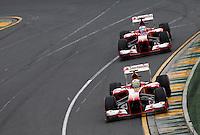 MELBOURNE, AUSTRALIA, 17 MARÇO 2013 - F1 - GP DA AUSTRALIA - O piloto espanhol Fernando Alonso e o brasileiro Felipe Massa, da Ferrari, durante o GP da Austrália, em Albert Park, Melbourne, neste domingo (17). (FOTO: PIXATHLON / BRAZIL PHOTO PRESS).