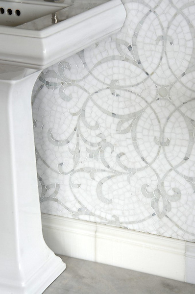 Marabel, a handmade mosaic shown in honed Thassos and polished Afyon White, is part of the Silk Road Collection by Sara Baldwin for New Ravenna.<br />