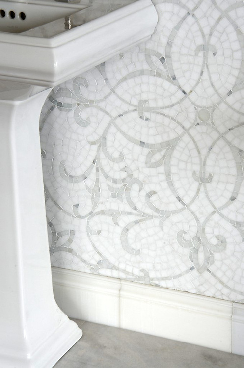 Marabel, a handmade mosaic shown in honed Thassos and polished Afyon White, is part of the Silk Road® collection by New Ravenna.
