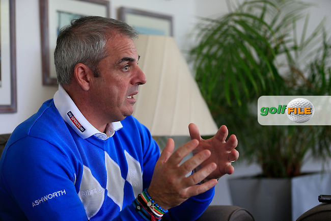 Ryder Cup Captain Paul McGinley  speaking to the media after the opening of the Quinta do Lago North Course Algarve, Portugal.<br /> Picture Fran Caffrey www.golffile.ie