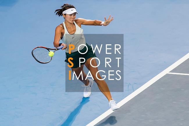 Zhang Ling of Hong Kong competes against Wang Qiang of China during the singles first round match at the WTA Prudential Hong Kong Tennis Open 2018 at the Victoria Park Tennis Stadium on 09 October 2018 in Hong Kong, Hong Kong.