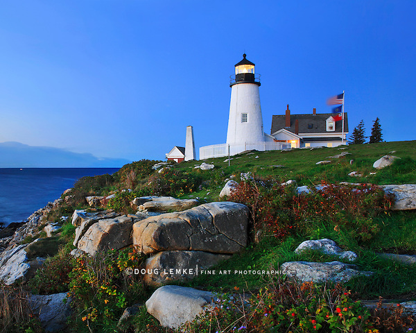 Pemaquid Point Lighthouse In Pre Dawn Light, Bristol, Maine, USA