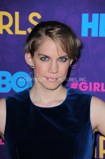 WWW.ACEPIXS.COM<br /> <br /> <br /> January 6, 2014, New York City, NY.<br /> <br /> Anna Chlumsky arriving at the 'Girls' Season 3 Premiere at Jazz at Lincoln Center on January 6, 2014 in NEw York City, NY.<br /> <br /> <br /> <br /> <br /> By Line:  William Bernard/ACE Pictures<br /> <br /> ACE Pictures, Inc<br /> Tel: 646 769 0430<br /> Email: info@acepixs.com