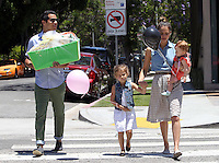 Jessica Alba took her family to a shopping at the posh kids store Bel Bambini in West Hollywood. Jessica, hubby Cash Warren, Honor and Haven were spotted leaving the boutique with balloons and a huge gift basket. Los Angeles, California on 23.06.2012..Credit: Correa/face to face.. /MediaPunch Inc. ***FOR USA ONLY*** ***Online Only for USA Weekly Print Magazines*** / Mediapunchinc NORTEPHOTO.COM<br />