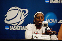 NORFOLK, VA--Chiney Ogwumike fields questions from the media at the Ted Constant Convocation Center at Old Dominion University in Norfolk, VA for the first and second rounds of the 2012 NCAA tournament.