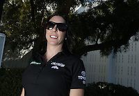 Feb. 17, 2013; Pomona, CA, USA; NHRA funny car driver Alexis DeJoria during the Winternationals at Auto Club Raceway at Pomona. Mandatory Credit: Mark J. Rebilas-