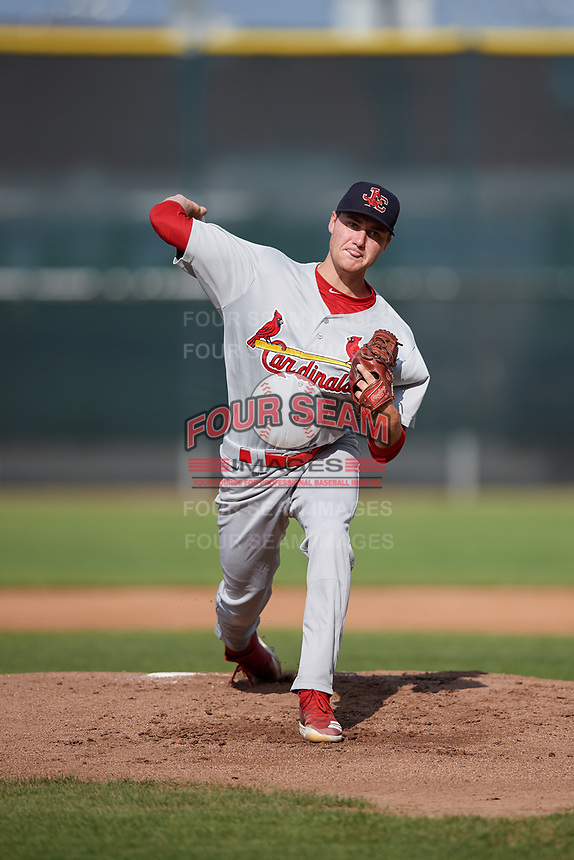 Johnson City Cardinals starting pitcher Kyle Leahy (33) delivers a pitch during the first game of a doubleheader against the Princeton Rays on August 17, 2018 at Hunnicutt Field in Princeton, Virginia.  Johnson City defeated Princeton 6-4.  (Mike Janes/Four Seam Images)
