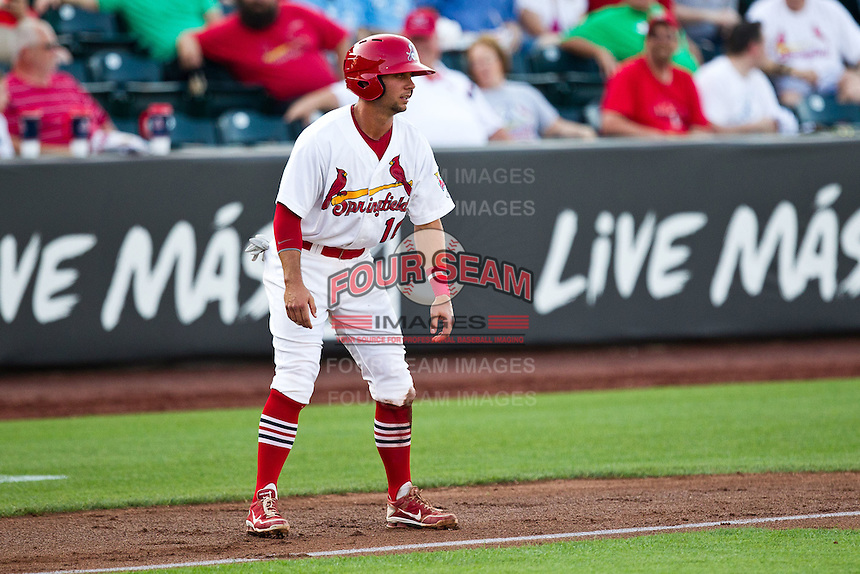 Greg Garcia (10) of the Springfield Cardinals leads off third base during a game against the Arkansas Travelers at Hammons Field on May 5, 2012 in Springfield, Missouri. (David Welker/Four Seam Images)