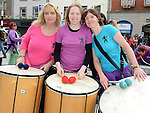 Darci Johnston, Siobhan McMahon and Maeve Rafferty who took part in the Drogheda Samba Festival. Photo:Colin Bell/pressphotos.ie