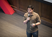 """Noorsher Ahmed '17 talks about """"Brilliance Oppressed.""""<br /> Occidental College's second TEDx event, Choi Auditorium, April 2, 2016. Featuring talks on sustainability and global development by speakers that included five students, a faculty member and seven external speakers.<br /> (Photo by Marc Campos, Occidental College Photographer)"""