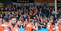 Picture by Allan McKenzie/SWpix.com - 13/05/2017 - Rugby League - Ladbrokes Challenge Cup - Castleford Tigers v St Helens - The Mend A Hose Jungle, Castleford, England - Castleford's fans celebrate the victory with their players after defeating St Helens.