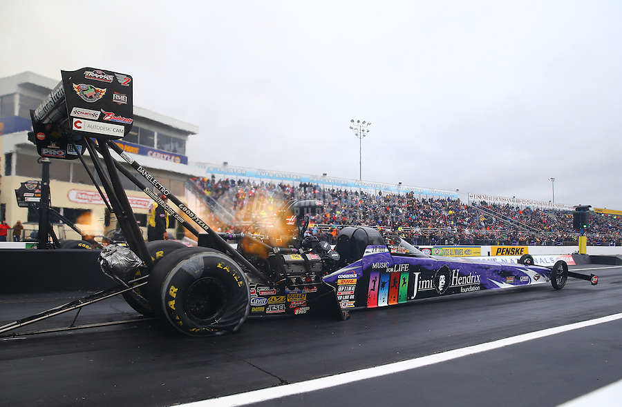Oct 3, 2015; Mohnton, PA, USA; NHRA top fuel driver J.R. Todd during qualifying for the Keystone Nationals at Maple Grove Raceway. Mandatory Credit: Mark J. Rebilas-USA TODAY Sports