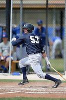 Outfielder Austin Aune (53) of the New York Yankees organization during a minor league spring training game against the Toronto Blue Jays on March 16, 2014 at the Englebert Minor League Complex in Dunedin, Florida.  (Mike Janes/Four Seam Images)