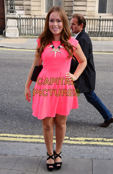 Tanya Burr<br /> The Face TV press launch, Royal Opera House, Covent Garden, London, England.<br /> September 26th, 2013<br /> full length pink dress hand on hip<br /> CAP/BF<br /> &copy;Bob Fidgeon/Capital Pictures
