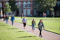 Students walking in between classes - Drill Field sidewalks.<br />  (photo by Megan Bean / &copy; Mississippi State University)
