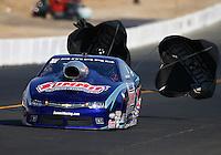 Aug 1, 2015; Sonoma, CA, USA; NHRA pro stock driver Jason Line during qualifying for the Sonoma Nationals at Sonoma Raceway. Mandatory Credit: Mark J. Rebilas-