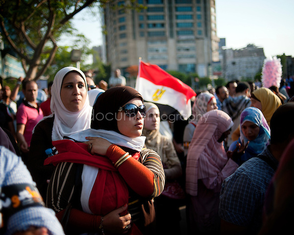 Egyptians protesters attend a demonstration in Cairo's landmark Tahrir Square on June 5, 2012 against verdicts handed down in ex-president Hosni Mubarak's murder trial. ..copyright : Magali Corouge / Documentography.Cairo, Egupt, 5th of June 2012.