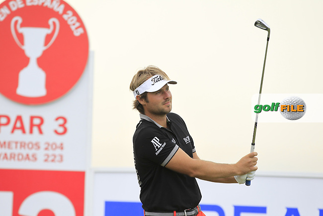 Victor Dubuisson (FRA) on the 13th tee during Round 1 of the Open de Espana  in Club de Golf el Prat, Barcelona on Thursday 14th May 2015.<br /> Picture:  Thos Caffrey / www.golffile.ie