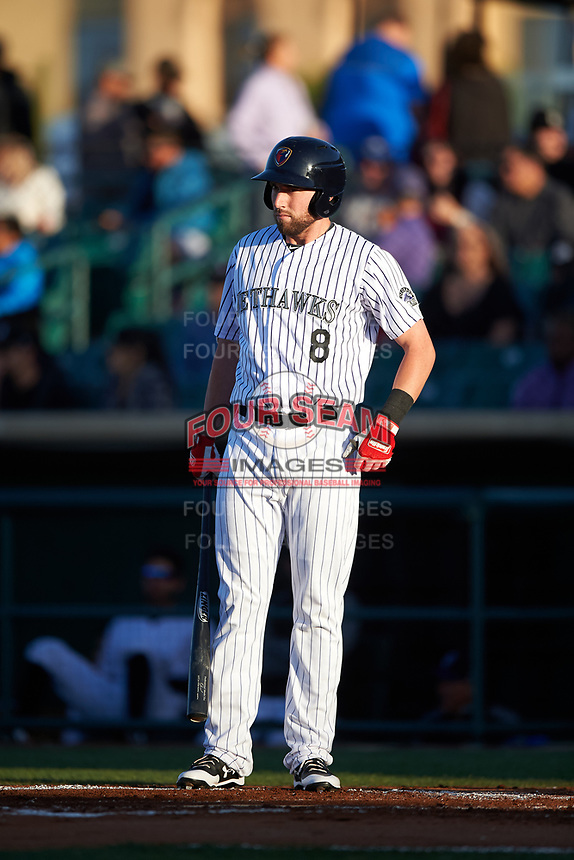 Lancaster JetHawks designated hitter Vince Fernandez (8) at bat during a California League game against the Visalia Rawhide at The Hangar on May 17, 2018 in Lancaster, California. Lancaster defeated Visalia 11-9. (Zachary Lucy/Four Seam Images)