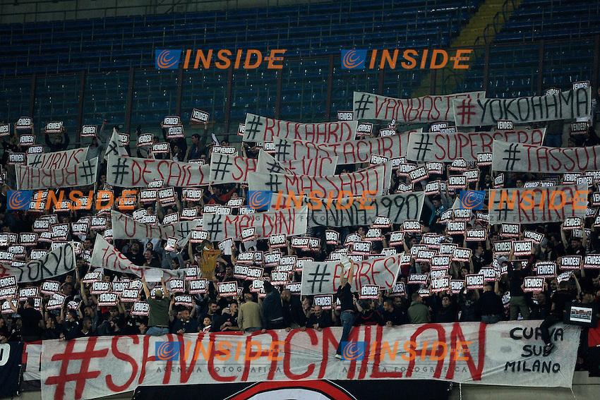 Contestazione tifosi Milan<br /> Milano 12-04-2015 Stadio Giuseppe Meazza - Football Calcio Serie A Milan - Sampdoria. Foto Giuseppe Celeste / Insidefoto