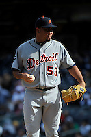 Apr 03, 2011; Bronx, NY, USA; Detroit Tigers pitcher Joaquin Benoit (53) during game against the New York Yankees at Yankee Stadium. Tigers defeated the Yankees 10-7. Mandatory Credit: Tomasso De Rosa
