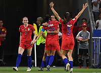 20190702 - LYON , FRANCE : American players pictured celebrating the goal and 1-2 lead for USA from Alex Morgan (13) during the female soccer game between England  - the Lionesses - and The United States of America  – USA - , a knock out game in the semi finals of the FIFA Women's  World Championship in France 2019, Tuesday 2 nd July 2019 at the Stade de Lyon  Stadium in Lyon  , France .  PHOTO SPORTPIX.BE | DAVID CATRY