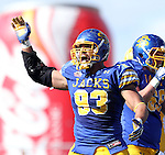 BROOKINGS, SD - SEPTEMBER 28:   Chase Douglas #93 from South Dakota State University celebrates a sack against North Dakota State University in the second quarter of their game Saturday afternoon at Coughlin Alumni Stadium in Brookings. (Photo by Dave Eggen/Inertia)