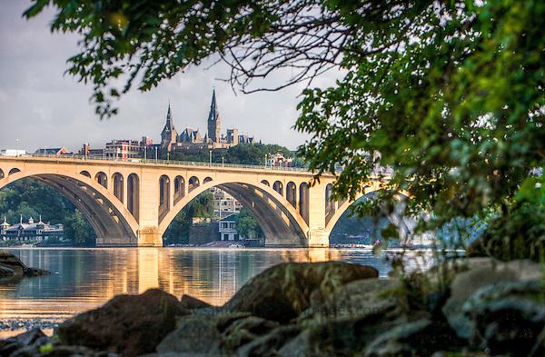 Key Bridge Georgetown from Roosevelt Island Washington DC
