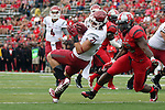 River Cracraft, Washington State University wide receiver, hauls in a pass during the Cougars first road test of the season against Big Ten foe Rutgers at High Point Solutions Stadium in Piscataway, New Jersey, on September 12, 2015.  WSU came back from a late deficit to go on a 90 yard touchdown drive to score the winning TD with 13 seconds left to get the win, 37-34.