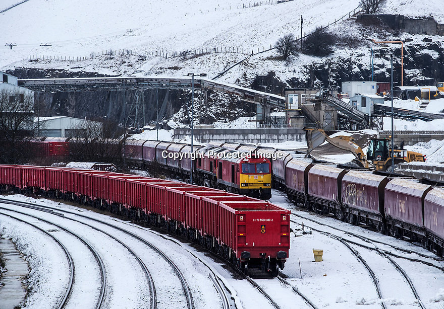 08/03/18<br /> <br /> A freight train is loaded in a wintry siding near Doveholes after snow returns to the Derbyshire Peak District.<br /> <br /> All Rights Reserved F Stop Press Ltd. +44 (0)1335 344240 +44 (0)7765 242650  www.fstoppress.com