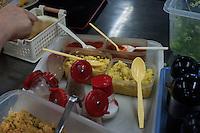 Typical yakumi, or seasonings, for Sanuki udon include green onions, sesame seed, grated ginger, and tempura crumbs (tenkasu), served at Kirin Udon.