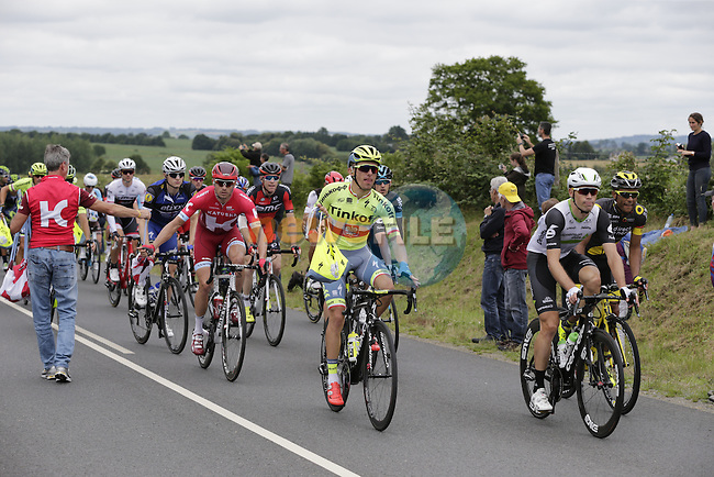 Riders, including Rafal Majka (POL) Tinkoff, pass through the feed zone at La Hargriniere during Stage 3 of the 2016 Tour de France, running 223.5km from Granville to Angers, France . 4th July 2016.<br /> Picture: Eoin Clarke | Newsfile<br /> <br /> <br /> All photos usage must carry mandatory copyright credit (&copy; Newsfile | Eoin Clarke)