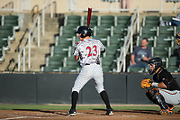 Sam Dexter (23) of the Kannapolis Intimidators at bat against the Delmarva Shorebirds at Kannapolis Intimidators Stadium on June 30, 2017 in Kannapolis, North Carolina.  The Shorebirds defeated the Intimidators 6-4.  (Brian Westerholt/Four Seam Images)