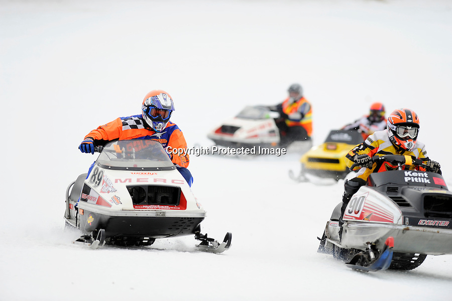 Classic Vintage snowmobile racing at World Championship Snowmobile Derby, Eagle River, WI, in January 2010.