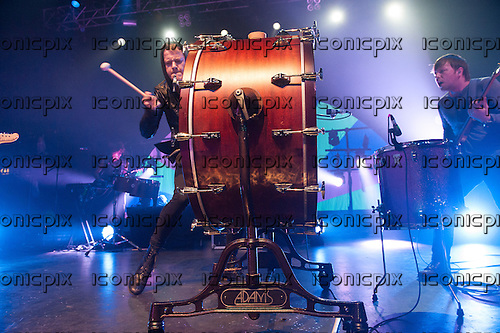 Imagine Dragons - vocalist and percussionist Dan Reynolds - performing live at The Forum in London UK - 11 April 2013.  Photo credit: Jeff Barclay/Music Pics Ltd/IconicPix