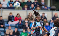 Marcus Bean of Wycombe Wanderers wins the ball during the Sky Bet League 2 match between Wycombe Wanderers and Barnet at Adams Park, High Wycombe, England on 16 April 2016. Photo by Andy Rowland.