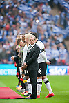 Queens Park Rangers 1 Derby County 0, 24/05/2014. Wembley Stadium, Championship Play Off Final. Steve McClaren looks nervous as he leads out his Derby County team ahead of the Championship Play-Off Final between Queens Park Rangers and Derby County from Wembley Stadium. Queens Park Rangers won the game 1-0 to gain promotion to the Premier League. Photo by Simon Gill.