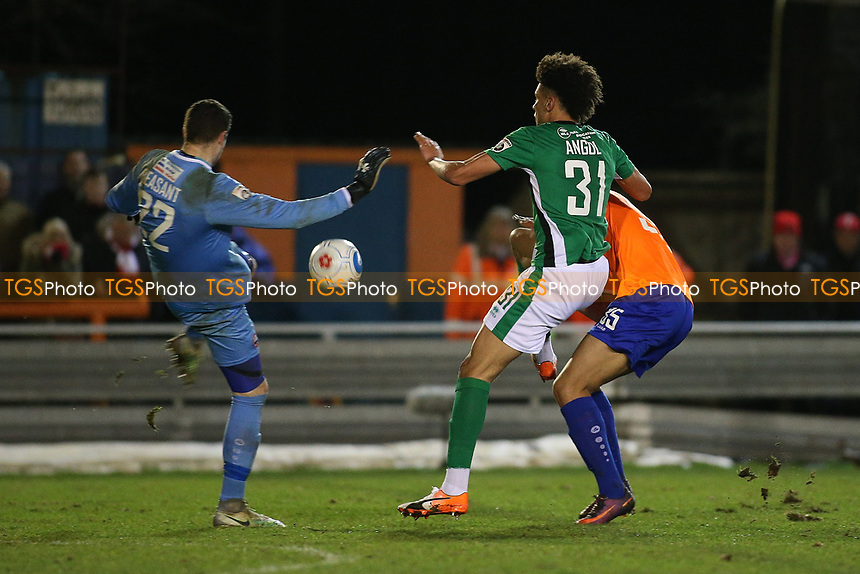 Lee Angol of Lincoln City collides with Sam Beasant of Braintree Town during Braintree Town vs Lincoln City, Vanarama National League Football at the IronmongeryDirect Stadium on 7th March 2017