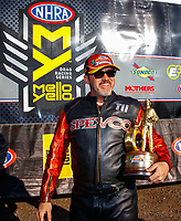 Feb 25, 2018; Chandler, AZ, USA; NHRA nitro harley rider Tii Tharpe celebrates after winning the Arizona Nationals at Wild Horse Pass Motorsports Park. Mandatory Credit: Mark J. Rebilas-USA TODAY Sports