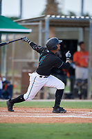 GCL Marlins Walner Espinal (14) bats during a Gulf Coast League game against the GCL Astros on August 8, 2019 at the Roger Dean Chevrolet Stadium Complex in Jupiter, Florida.  GCL Marlins defeated GCL Astros 5-4.  (Mike Janes/Four Seam Images)